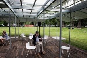 Coffee break at MPavilion in Queen Victoria Gardens, Melbourne.