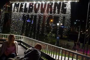 After dark at the Foxtel Festival Hub, Melbourne festival, 2014.