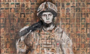 Faces of the Fallen. Arabella Dorman's ghostly portrait of a soldier painted over a collage of hundr