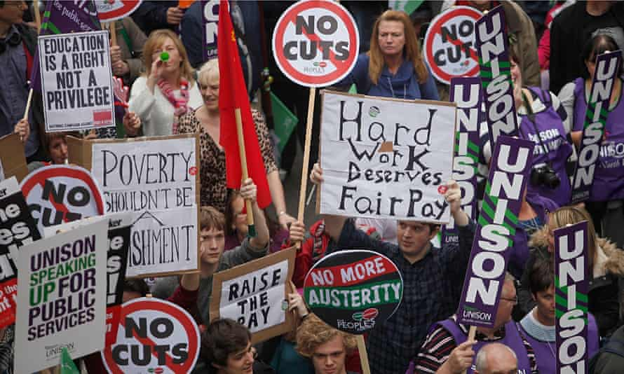 Demonstrators protesting about austerity in London