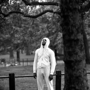 Clay takes a breather during an early morning run through Hyde Park, London.