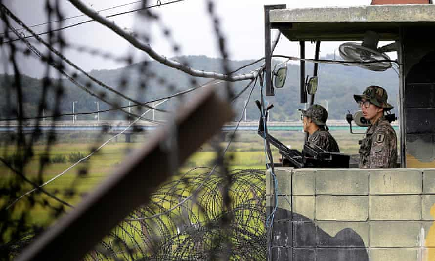 South Korean soldiers on the fortified border, where clashes erupted after balloons carrying propaga