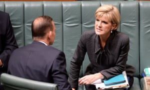 Julie Bishop speaking to Tony Abbott during House of Representatives question time at on Tuesday.