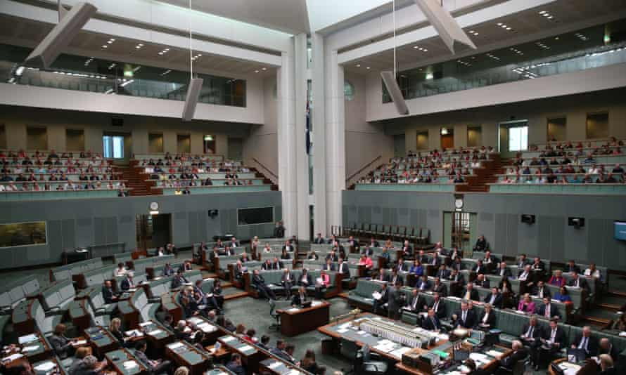 The Chamber during question time in the House of Representatives this afternoon on Thursday. The shielded areas are visible at the top, above the public galleries.