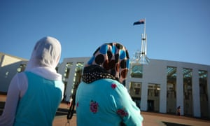Visitors wearing hijabs outside Parliament House in Canberra on Thursday.
