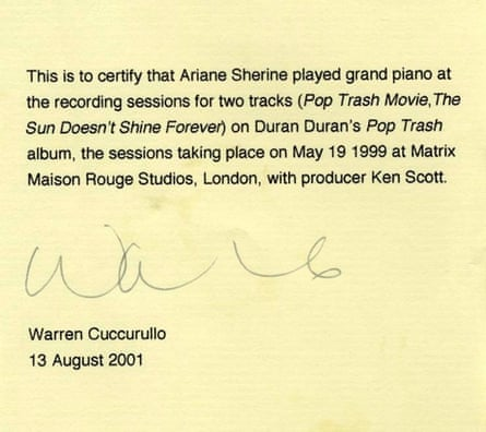 Warren Cuccurullo letter
