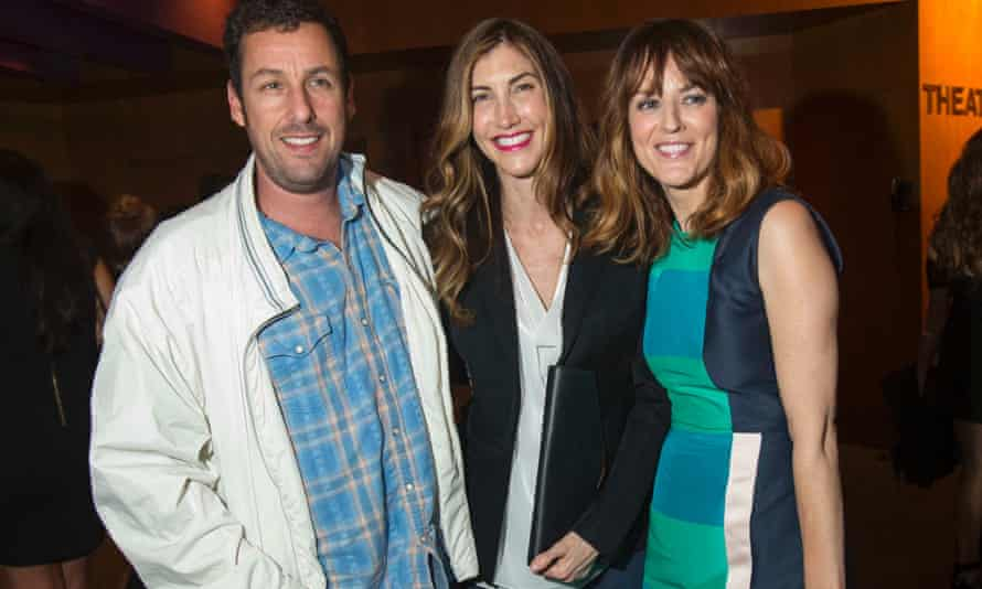 Adam Sandler and wife Jackie pose with co-star Rosemarie DeWitt at the party following the premiere of Men, Women & Children on 30 September