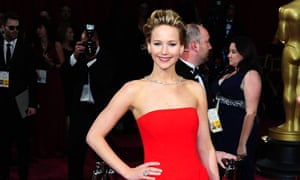 Jennifer Lawrence, one of the actresses whose photos were stolen by hackers, on the red carpet at the 2014 Academy Awards.