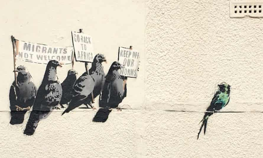 Banksy anti-immigration birds mural destroyed