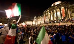 Italians celebrate the World Cup in Trafalgar Square in London
