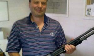Arron Banks with shotgun