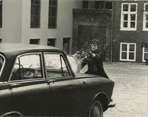 Alain Delon on film set in 1970s