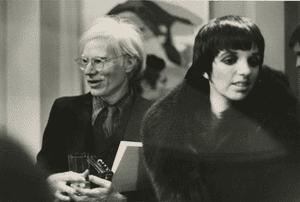 Andy Warhol and Liza Minnelli at Warhol exhibition, Palazzo dei Diamanti Ferrara, 1975.