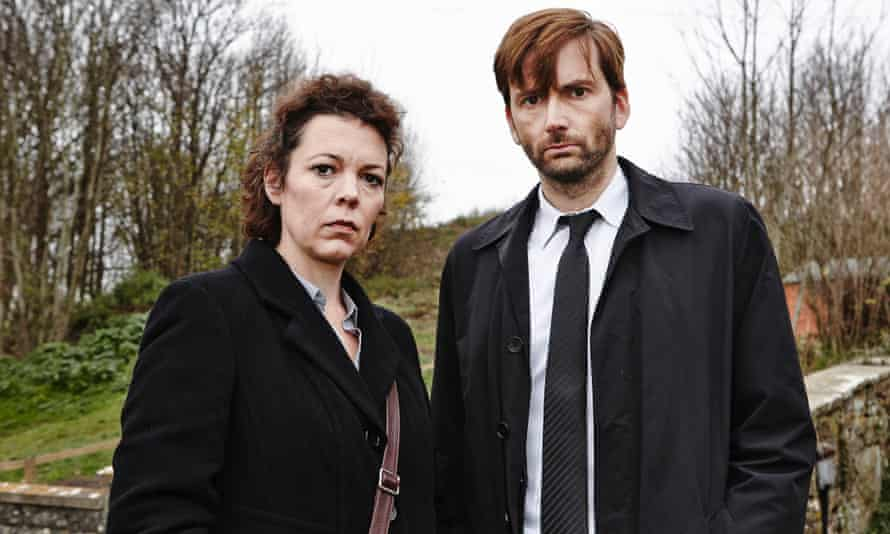 David Tennant as Alec Hardy and Olivia Coleman as Ellie Miller in the ITV/BBC America show Broadchurch