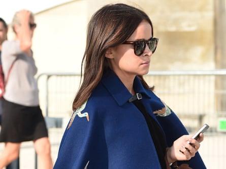 Miroslava Duma arrives at the Elie Saab show during Paris fashion week