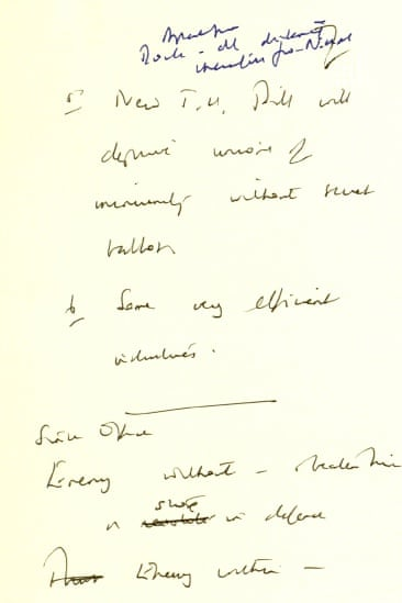 Thatcher's notes: 'enemy within'