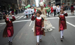 The annual Columbus Day Parade along Fifth Avenue in New York.