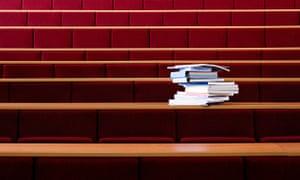 Books in lecture theatre