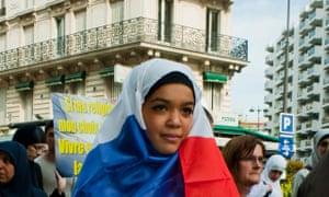 Paris, France, Muslim Women Demonstrating Against Islamophobie, Holding French Sign in Hijab