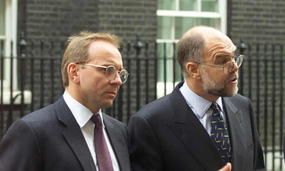 John Manzoni, left, with Michael Brinder outside Downing Street