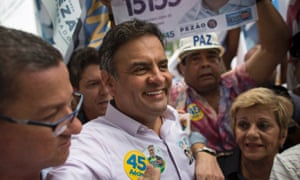 Aécio Neves of Brazil's Social Democracy party, surrounded by supporters