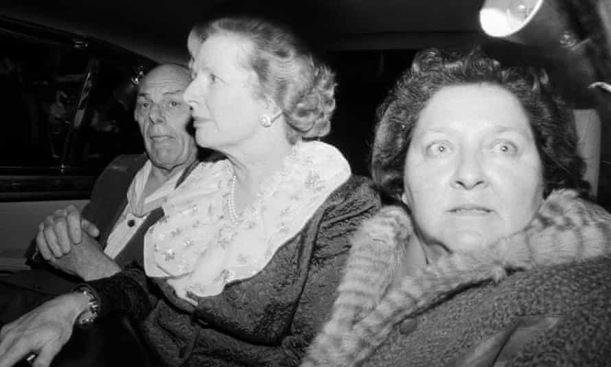 Margaret Thatcher, husband Denis and aide Cynthia Crawford leave the Grand Hotel in Brighton having survived the IRA bomb attack