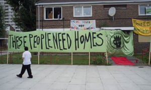 Banners pictured outside occupied flats as members of the group, Focus E15 stage a sit-in at the almost empty Carpenters estate in Newham.