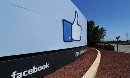 The sign at the entrance to the Facebook main campus in Menlo Park, California.