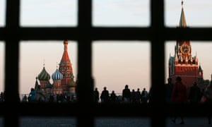Red Square, St Basil's Cathedral and the Spasskaya Tower of the Kremlin in central Moscow.