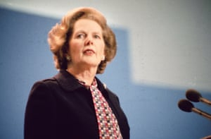 Mrs Thatcher, addresses the Conservative Party Conference with a new speech