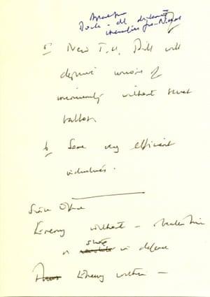 Handwritten note by Margaret Thatcher