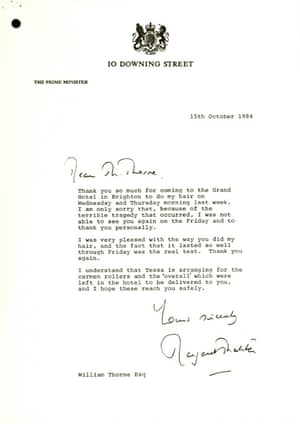 A note from Margaret Thatcher