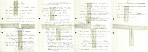 Handwritten notes for Thatcher's 1984 speech which she abandoned following the Grand hotel bombing in Brighton