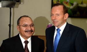 Tony Abbott and Peter O'Neill in Port Moresby in March.