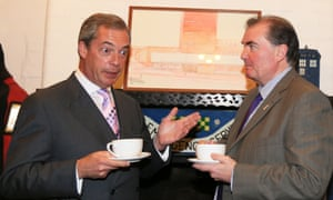 Nigel Farage with the Ukip candidate for the position of South Yorkshire police and crime commissioner Jack Clarkson (right) during a visit to the National Emergency Services Museum in Sheffield this morning