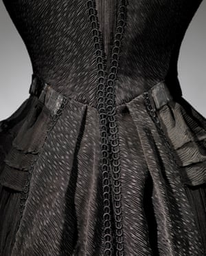 Detail of a Victorian mourning dress.