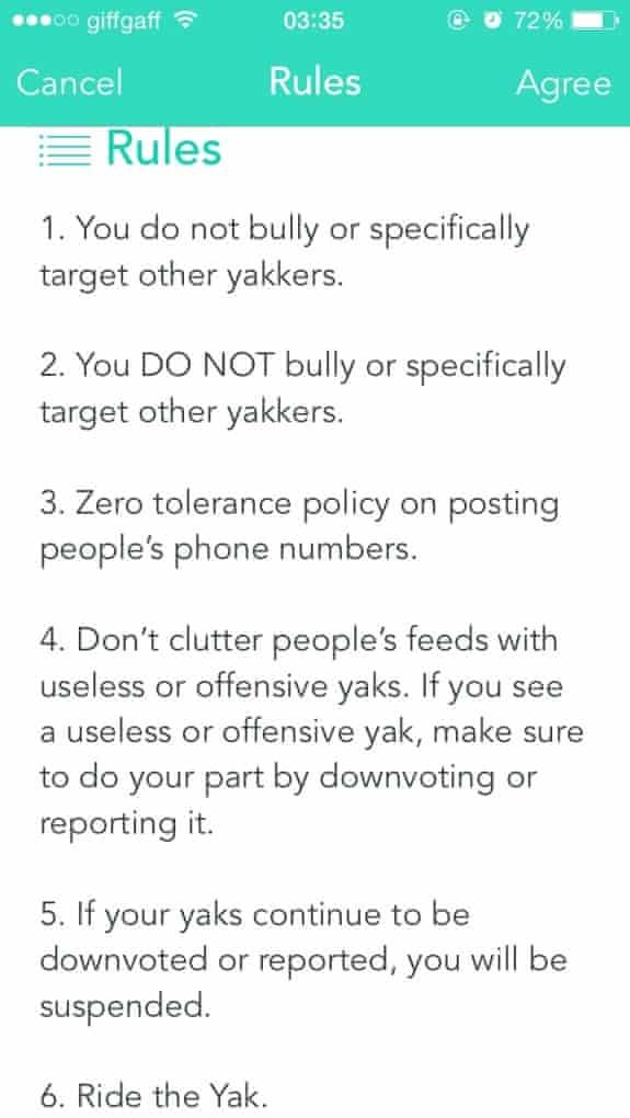 Yik Yak rules