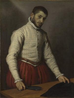The Tailor by Giovanni Battista Moroni, 1565, oil on canvas, 99.5 x 77 cm.