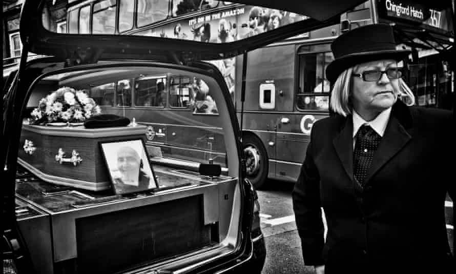 Doc's coffin and portrait. Photograph: Sarah Lee for the Guardian