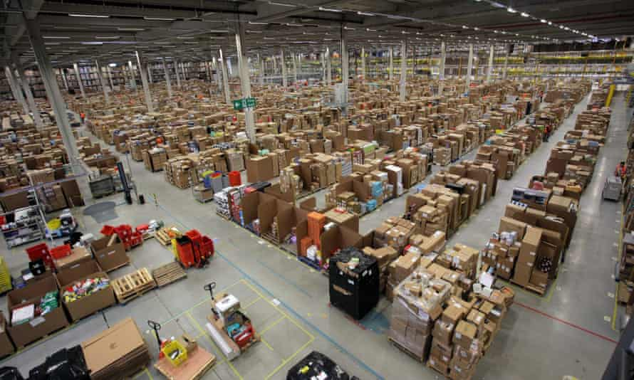 Amazon fulfilment centre in Swansea. The online retailer is hiring 13,000 seasonal workers to process millions of daily orders in the runup to Christmas.