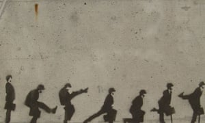 A graffiti timelapse of John Cleese's silly walk