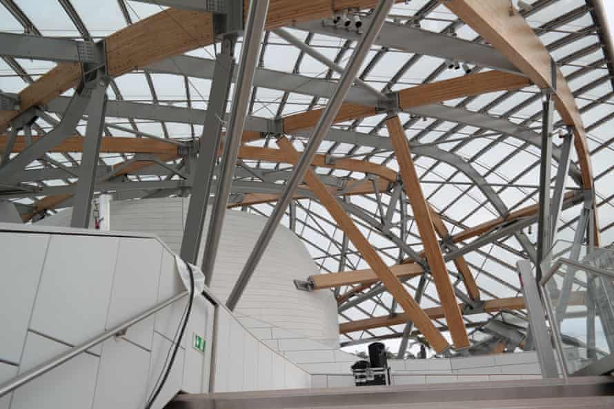 Cat's cradle … the sails are held up by a complex nest of steel columns and timber beams.