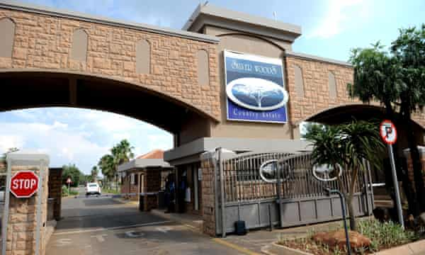 The main entrance of the Silver Woods estate in Pretoria, where Oscar Pistorius lived and shot dead Reeva Steenkamp.