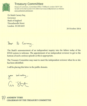 Andrew Tyrie letter to Mark Carney
