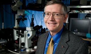 William E Moerner who along with Eric Betzig and Stefan W Hell won the Nobel Prize for Chemistry in  2014. In front of a microscope