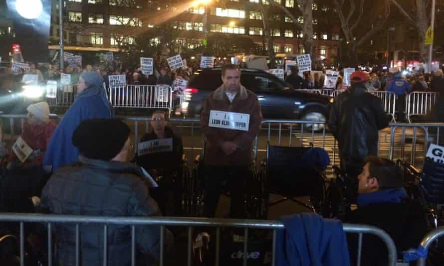 Protesters outside the Death of Klinghoffer