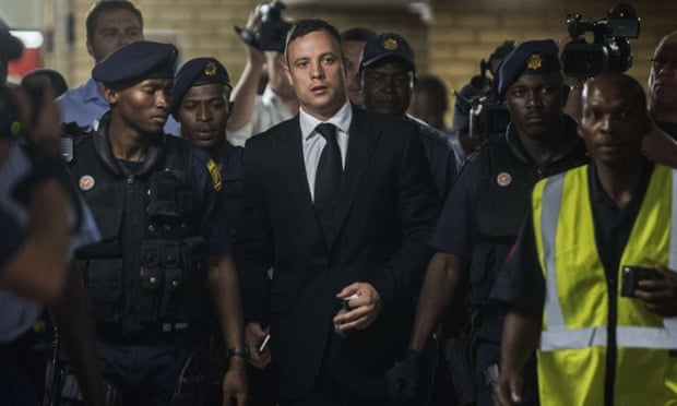 Oscar Pistorius arrives at the High Court in Pretoria today.