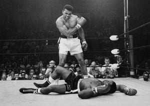 Ali stands over Liston as their 1965 rematch in Lewiston, Maine ends in dramatic fashion. The bout lasted only two minutes and 12 seconds, with Liston having been floored by what was known as the 'Phantom Punch'. Many observers claimed Liston had taken a dive, a rumour that persists to this day.