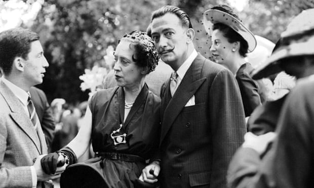 Elsa Schiaparelli with Salvador Dalí, right, in Neuilly, France, 1950. She became an overnight sensation as a designer when a ballgown she'd made fell apart 'during a particularly lively tango'.