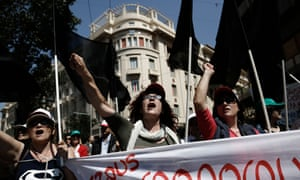 Greeks in Athens protest over the country's debt crisis.